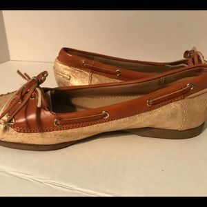 Coach Loves Poppy canvas slip on gold shoes sz 8M